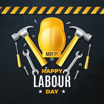 Realistic labour day concept
