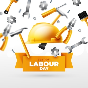 Realistic labour day concept