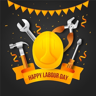 Realistic labour day illustration