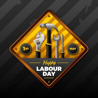 Realistic labour day with tools