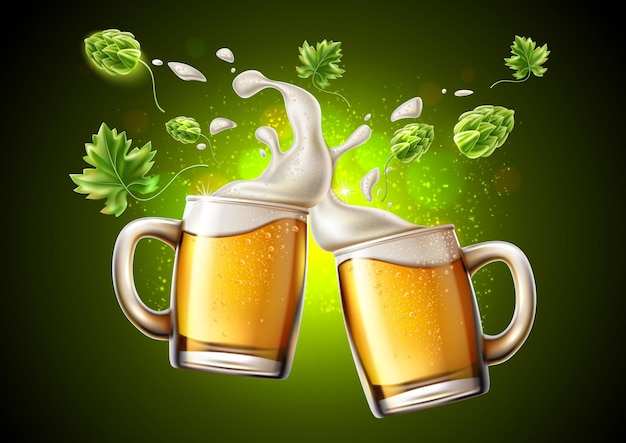 Realistic lager beer glass toasting with and green hop and froth around
