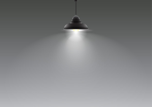 Realistic lamp hanging from the ceiling. vector illustration