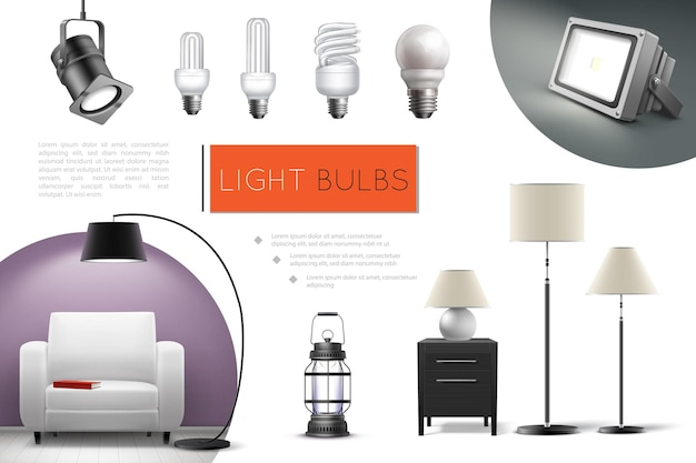 Realistic lamps and bulbs composition with spotlights floor lamps lantern led and fluorescent lightbulbs