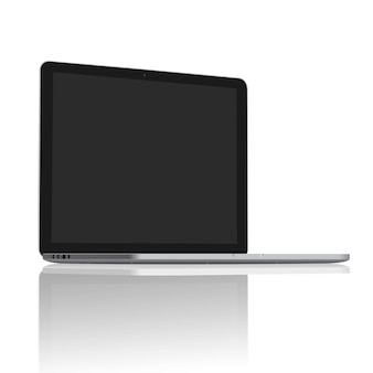 Realistic laptop blank screen set on 45 degree