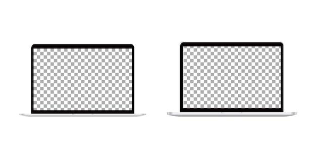 Realistic laptop computer set.