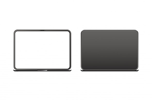 Realistic laptop, front side with screen and back side isolated on white