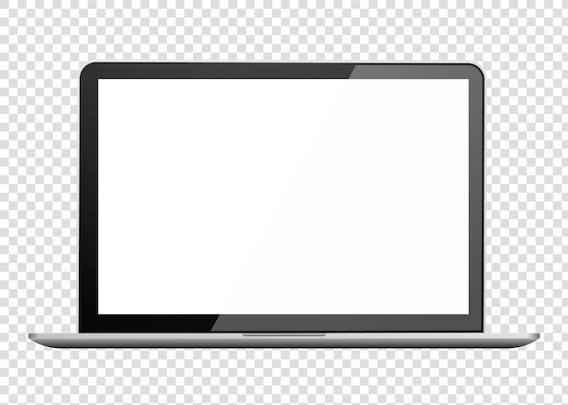 Realistic laptop front view notebook empty screen