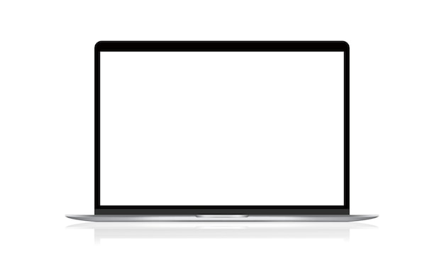 Realistic laptop illustration with a blank screen