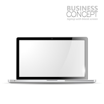 Realistic laptop isolated on white