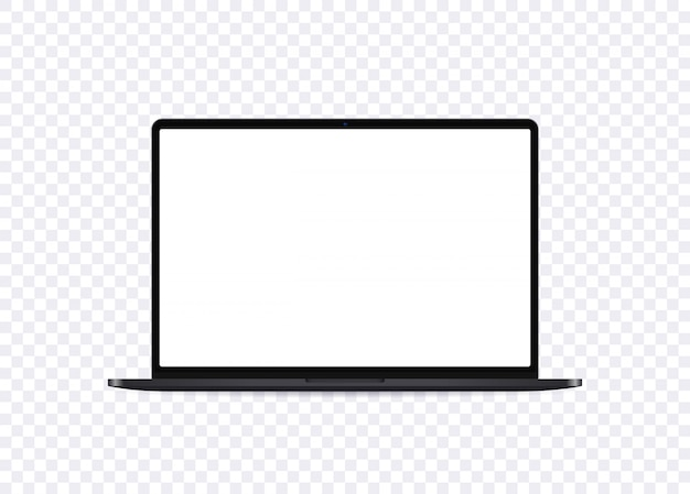 Realistic laptop mockup. open notebook with empty screen in front view. portable computer template.