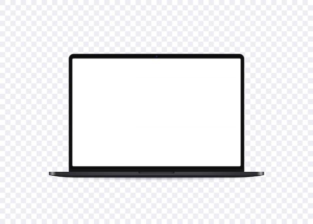 현실적인 노트북 모형. 빈 화면이 정면에서 보이는 노트북을 엽니 다. 휴대용 컴퓨터 템플릿입니다.