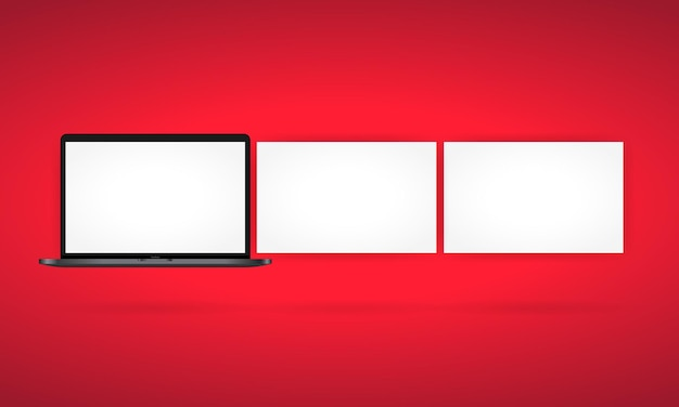 Realistic laptop monitor in front view. metal desktop mockup with white screen. template of notebook. vector on isolated white background. eps 10.
