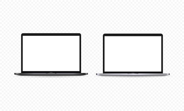 현실적인 노트북 모니터 아이콘입니다. 노트북 디스플레이. 흰색 빈 화면입니다. 어둡고 밝은 테마. 격리 된 투명 한 배경에 벡터입니다. eps 10.