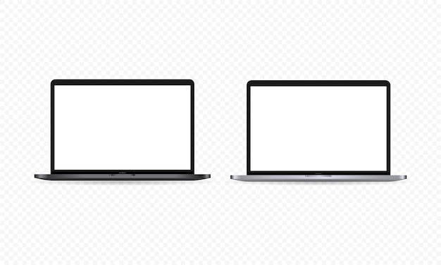 Realistic laptop monitor icon. notebook display. white blank screen. dark and light theme. vector on isolated transparent background. eps 10.