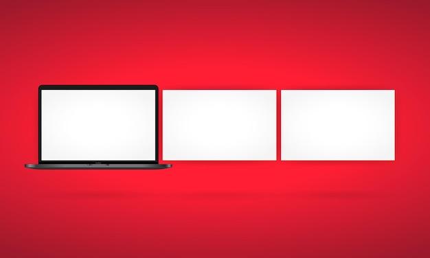전면에 있는 현실적인 노트북 모니터. 흰색 화면이 있는 금속 데스크탑 모형입니다. 노트북의 템플릿입니다. 격리 된 흰색 배경에 벡터입니다. eps 10.
