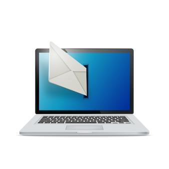 白い背景の上の現実的なラップトップ。電子メールはノートパソコンの画面から飛び出します。電子メールの概念。