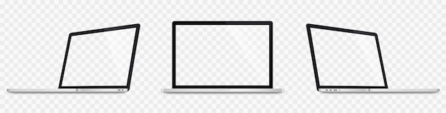 Realistic laptop set. 3d laptops mockup. blank screen isolated on transparent background
