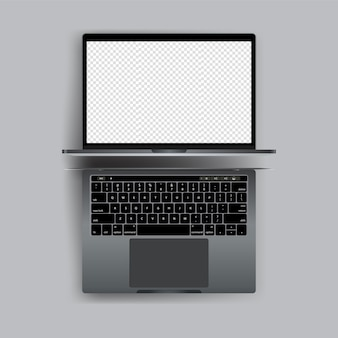 Realistic laptop with blank screen vector