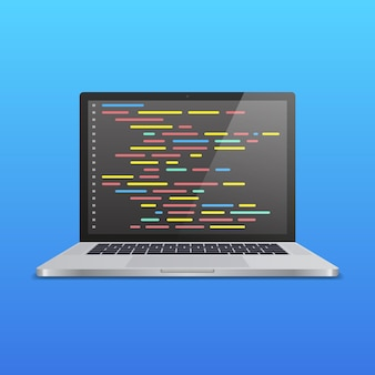 青いグラデーションの背景に画面上のコードと現実的なラップトップ。 web開発者、デザイン、プログラミングのコンセプト。ベクトルイラスト。