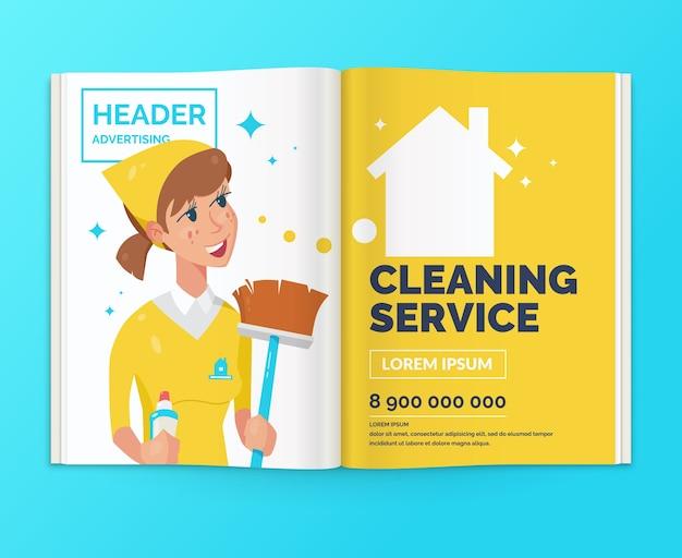 Реалистичная верстка журнала. раскройте брошюру с рекламой клининговые услуги. иллюстрация.