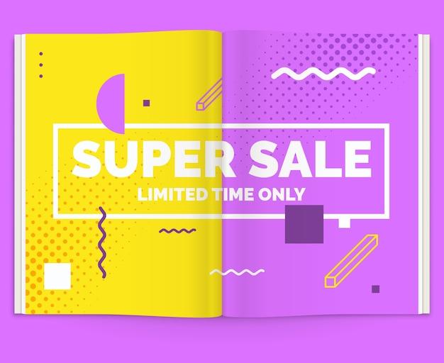 잡지의 사실적인 레이아웃. 판매 광고와 함께 오픈 브로셔. 삽화.