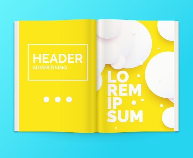 雑誌のリアルなレイアウト。広告付きのパンフレットを開きます。