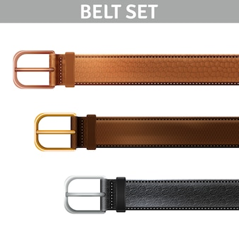 Realistic leather belts set with metal buckles