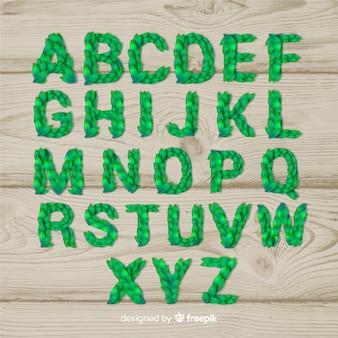 Realistic leaves alphabet