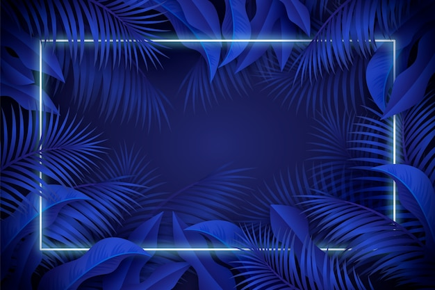 Realistic leaves with blue neon frame