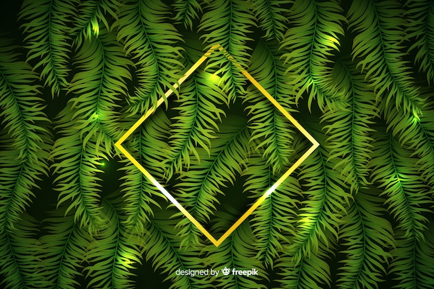 Realistic leaves with golden frame background