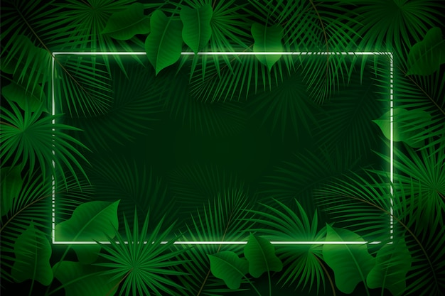 Realistic leaves with green neon frame