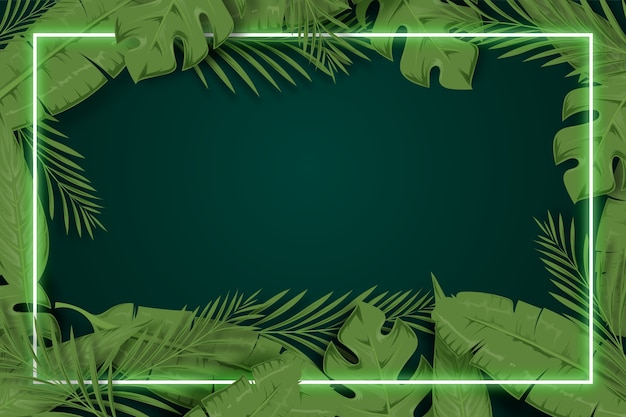Realistic leaves with neon frame background concept