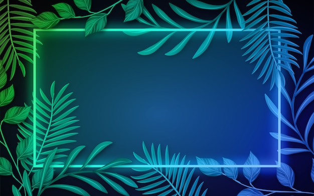 Realistic leaves with neon frame background