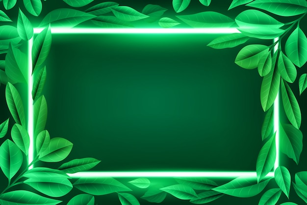 Realistic leaves with neon frame theme