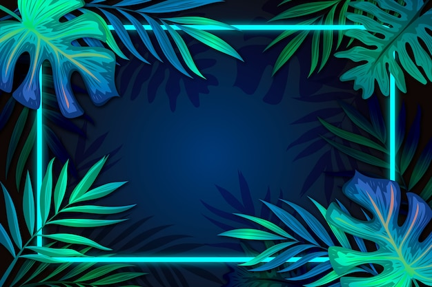 Realistic leaves with neon frame with copy space