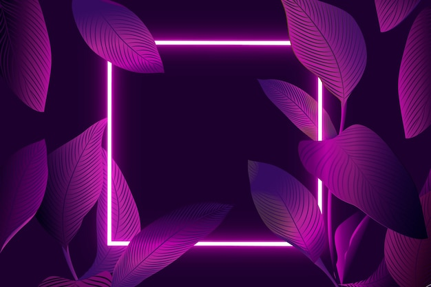 Realistic leaves with neon frame