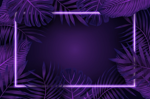 Realistic leaves with purple neon frame