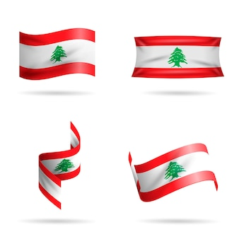 Realistic lebanese flag collection
