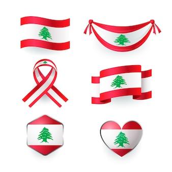 Pacchetto di bandiere libanesi realistiche