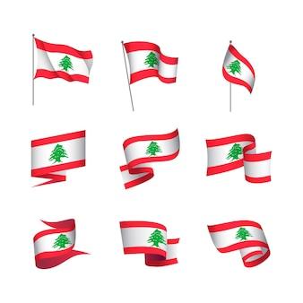 Realistic lebanese flags set