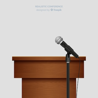 Realistic lectern conference with microphone