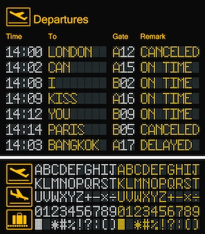 Realistic led digital board airport yellow font
