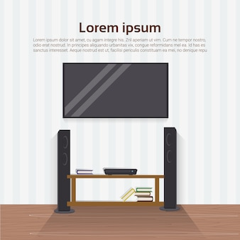 Realistic led tv set on wall in living room modern home interior design