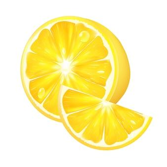 白い背景に現実的なレモン