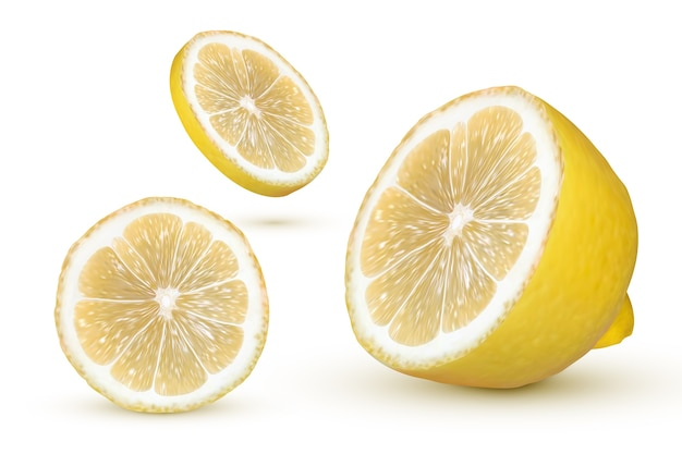 白い背景の上の現実的なレモン。新鮮な黄色の果物、イラスト