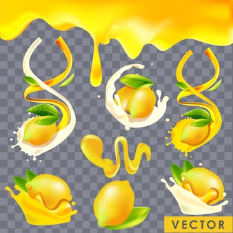 Realistic lemon yogurt and juice splashes