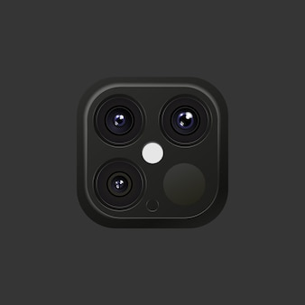 Realistic lens camera black and silver colors on smartphone or other gadgets with flash