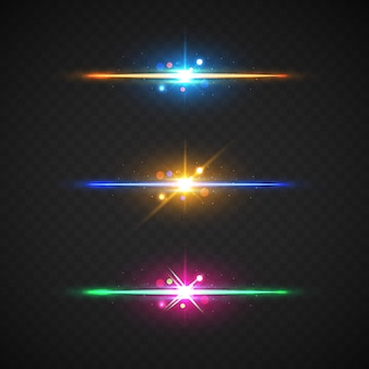 Realistic lens flare elements collection clipping path