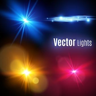Реалистичная коллекция элементов бликов. световой эффект прозрачный дизайн. желтый светящийся свет взрывается. иллюстрация светового эффекта украшения с лучом. яркая звезда.