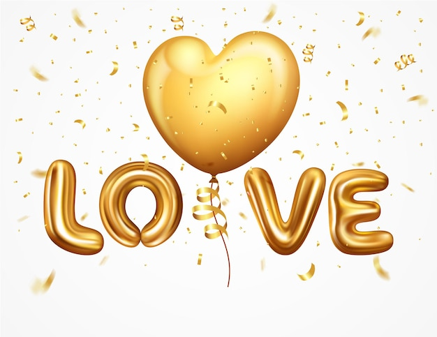 Realistic letter love from helium balloons with ribbon and confetti